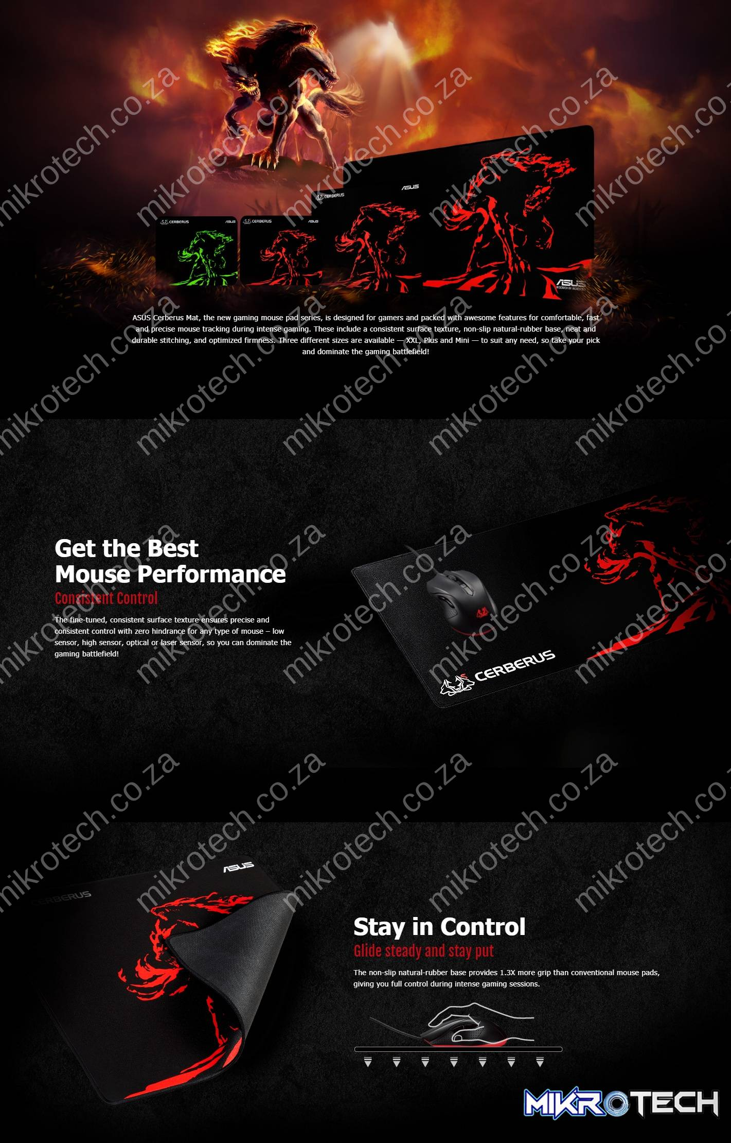 Asus Cerberus Plus Red Gaming Mouse Pad