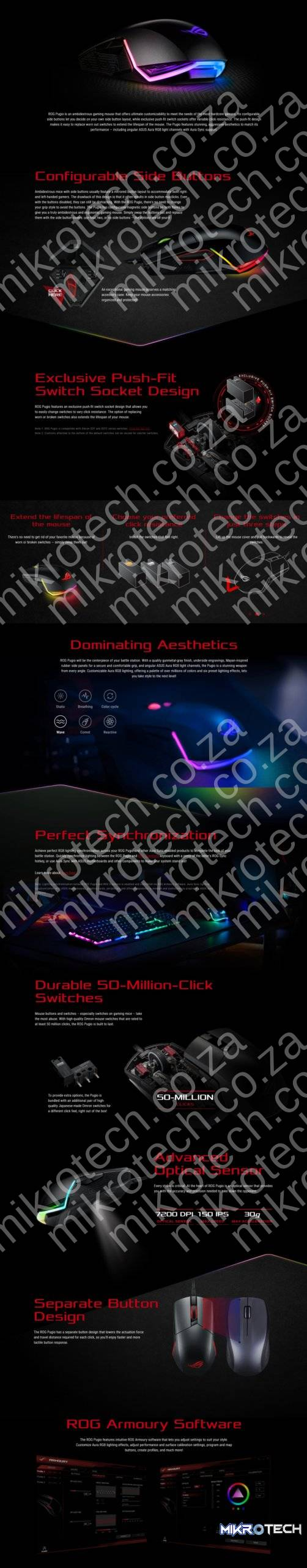 Asus ROG Pugio Optical RGB Ambidextrous Gaming Mouse