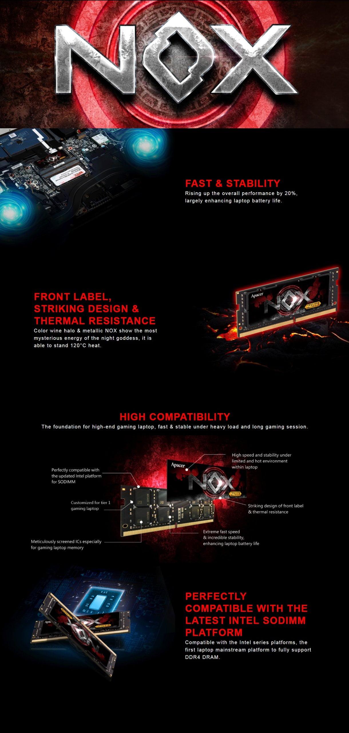 Apacer NOX DDR4 32GB KIT (2x16GB) 2400MHz SODIMM Memory