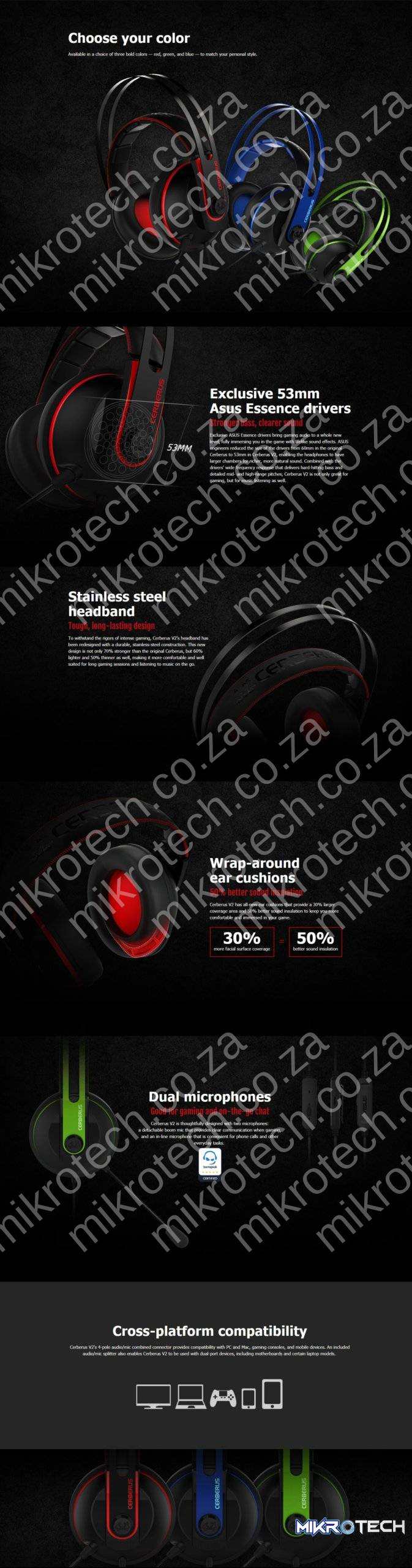Asus Cerberus V2 Multi-Platform Black/Red Wired Stereo Gaming Headset