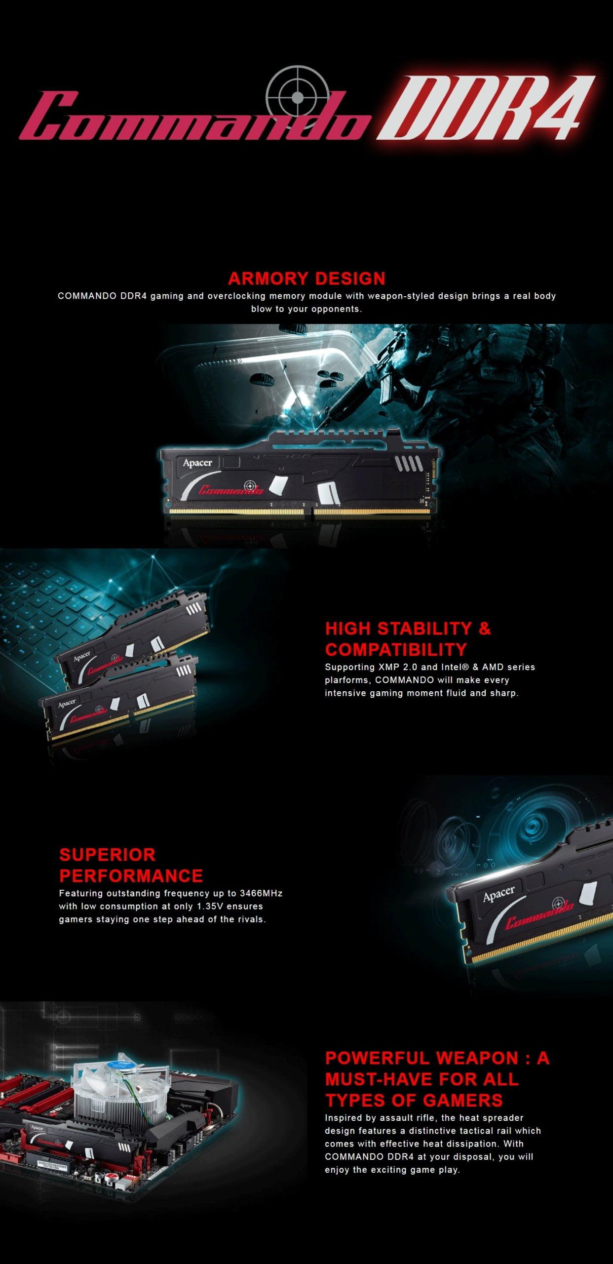 Apacer Commando 16GB KIT (4x4GB) DDR4 2800MHz Memory