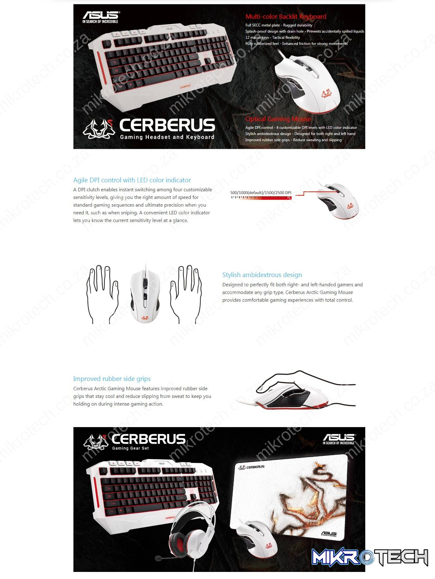Asus Cerberus Arctic Mouse Ambidextrous 2500 DPI Gaming Mouse