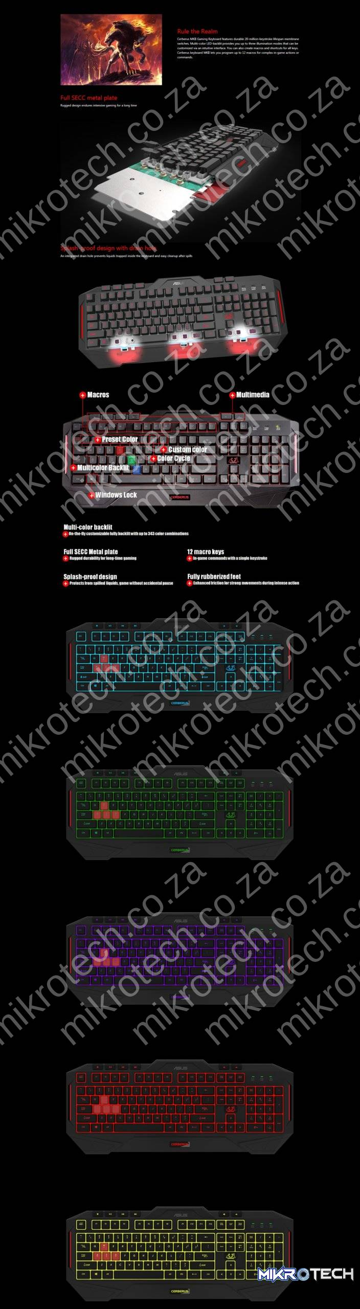 Asus Cerberus Keyboard MKII RGB LED Backlit Membrane Gaming Keyboard