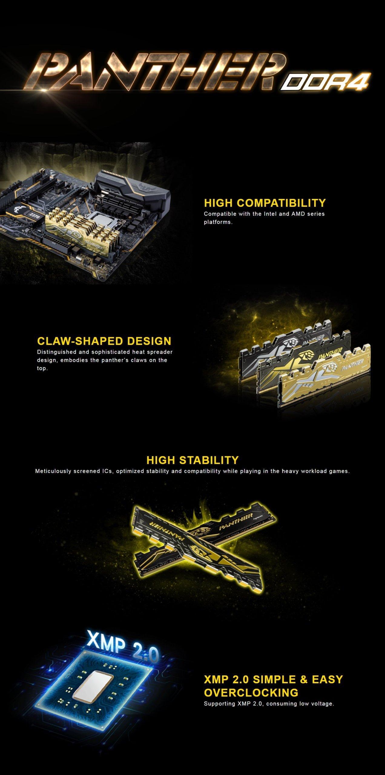 Apacer 8GB DDR4 2666MHz Black Panther Gaming Desktop Memory