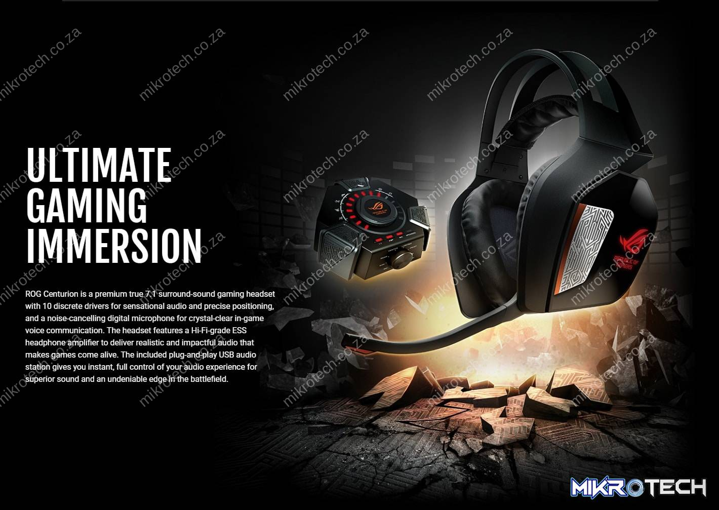 Asus ROG Centurion True 7.1 Over-Ear Black Wired Gaming Headset