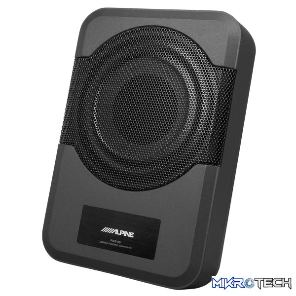 Alpine PWE-S8 Powered 8-inch (20cm) Quad-Coil Subwoofer Box with auto-sensing Speaker inputs and built-in 240W Amplifier