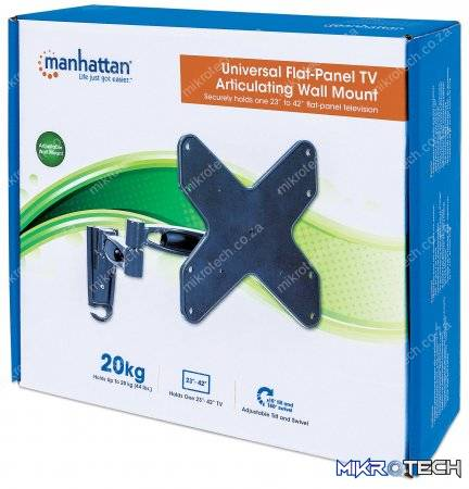"Manhattan Universal Flat-Panel TV Articulating Wall Mount - Double arm supports one 23"" to 42"" television"