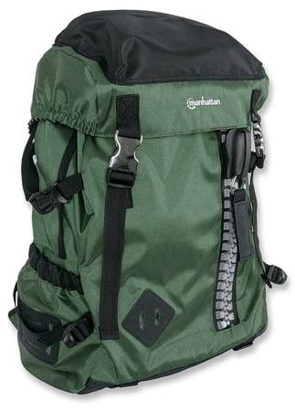 "Manhattan 15.6"" Zippack Notebook Backpack Colour:Black and Green"