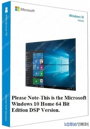 Microsoft Windows 10 Home 32/64 Bit Edition - Installation Disc