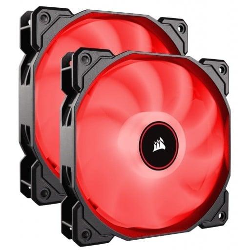 Corsair AF Series AF140 LED Low Noise Red Dual Pack Case Fans - 2018 Edition
