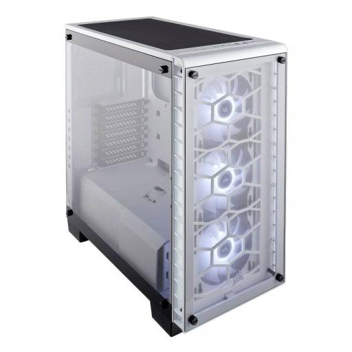 Corsair Crystal CC-9011129-WW 460X RGB Compact Windowed Mid-Tower White ATX Desktop Chassis