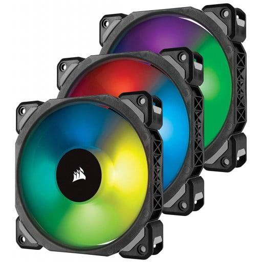 Corsair ML120 PRO RGB LED 120mm PWM Premium Magnetic Levitation Case Fan - 3 Fan Pack with Lighting Node PRO