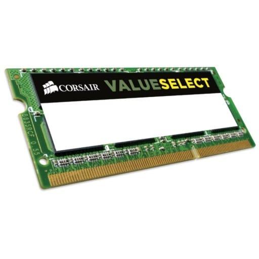 Corsair CMSo4GX3M1C1600C11 ValueSelect 4GB (1x4GB) DDR3L-1600MHz CL11 1.35V 204-pin SODIMM Notebook Memory