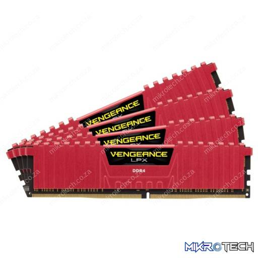 Corsair CMK16GX4M4A2666C16R Vengeance LPX 16GB (4x4GB) DDR4-2666MHz CL16 1.2V 288-pin Red Desktop Memory