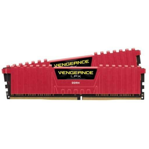 Corsair CMK32GX4M2A2666C16R Vengeance LPX 32GB (2x16GB) DDR4-2666MHz CL16 1.2V 288-Pin Red Desktop Memory