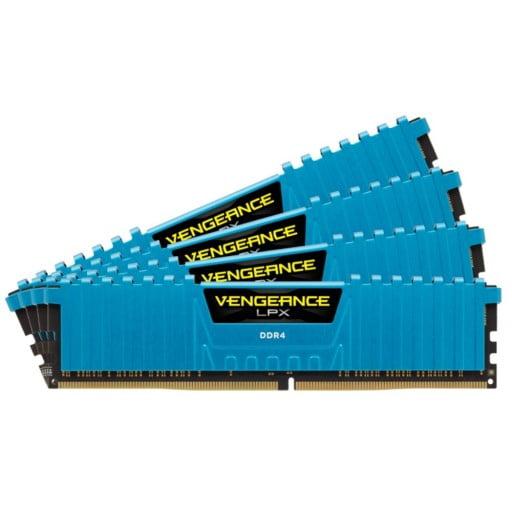 Corsair CMK32GX4M4A2400C14B Vengeance LPX 32GB (4x8GB) DDR4-2400MHz CL14 1.2V 288-Pin Blue Desktop Memory