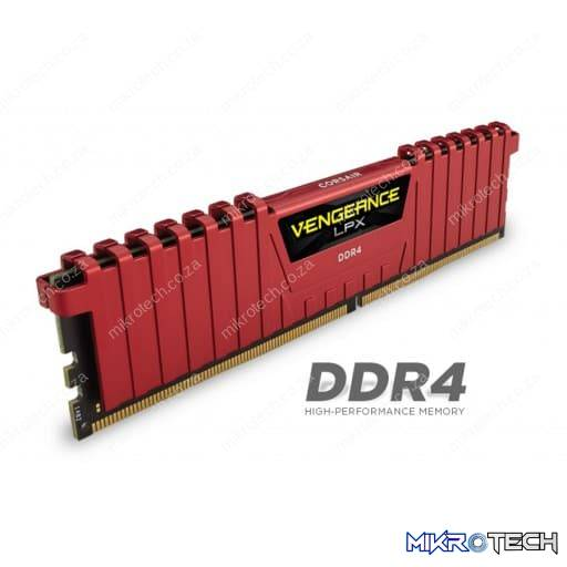 Corsair CMK8GX4M2B3200C16R Vengeance LPX 8GB (2 x 4GB) 3200MHz DDR4 CL16 288Pin 1.2V Red Desktop Memory