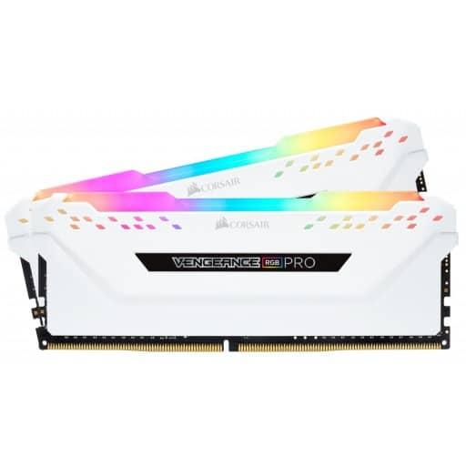 Corsair CMW16GX4M2A2666C16W Vengeance RGB PRO 16GB (2x8GB) DDR4-2666MHz CL16 1.2V 288-Pin White Desktop Memory