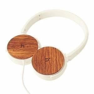 HEADPHONE WITH MIC  WHTE + WOOD