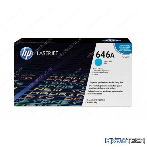 HP CF031A 646A Cyan Original LaserJet Toner Cartridge