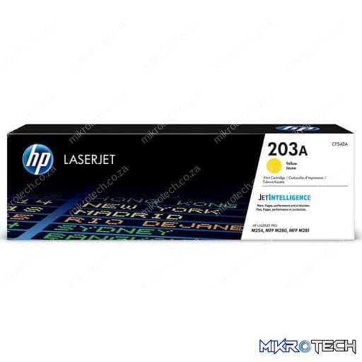 HP CF542A 203A Yellow Original LaserJet Toner Cartridge