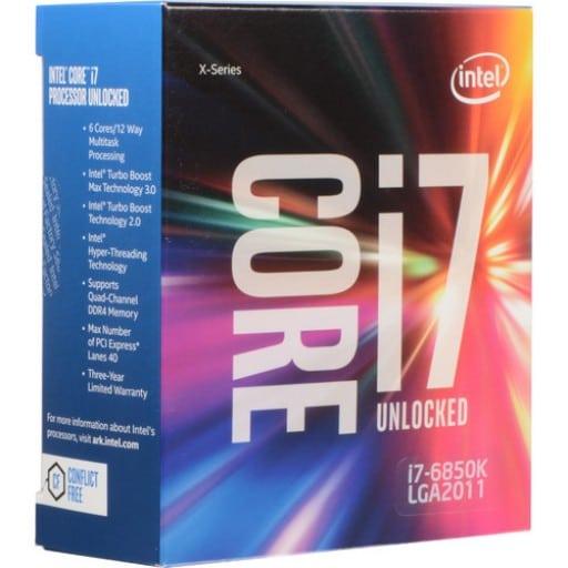 Intel i7-6850K LGA2011-v3 Socket 14nm 6 Core 3.6GHz Desktop CPU - Cooler Not Included