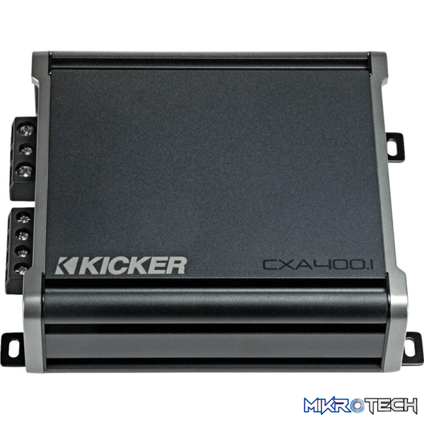 Kicker 46CXA4001 CX Series mono subwoofer amplifier — 400 watts RMS x 1 at 1 ohm