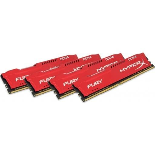 Kingston HyperX Fury 32GB (4x8GB) DDR4-2133MHz CL14 1.2V Red Desktop Memory