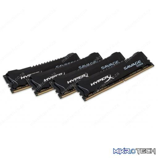 Kingston HyperX Savage 64GB (4x16GB) DDR4 2400MHz CL14 1.2V Black Desktop Memory