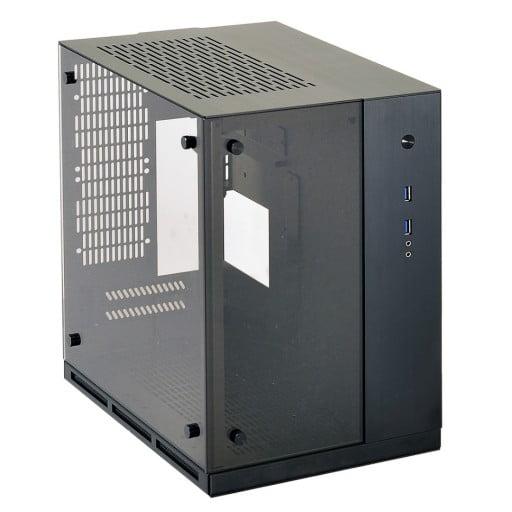 Lian-Li PC-Q37WX Black Tempered Glass Mini-TX Desktop Chassis