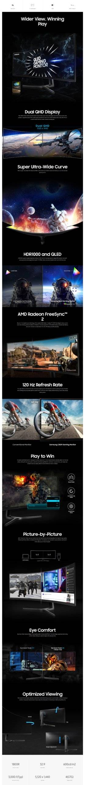 """Samsung CRG90 49"""" High Resolution Curved Gaming Monitor with 144Hz Refresh Rate Description"""
