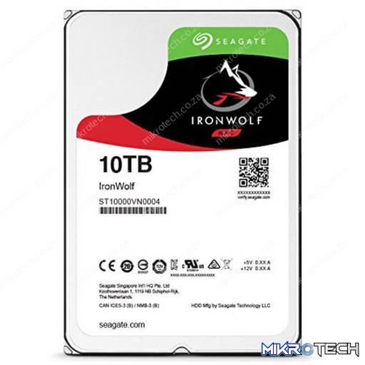 "Seagate IronWolf ST10000VN0004 10TB 7200RPM 256MB Cache 3.5"" NAS Internal Hard Drive"