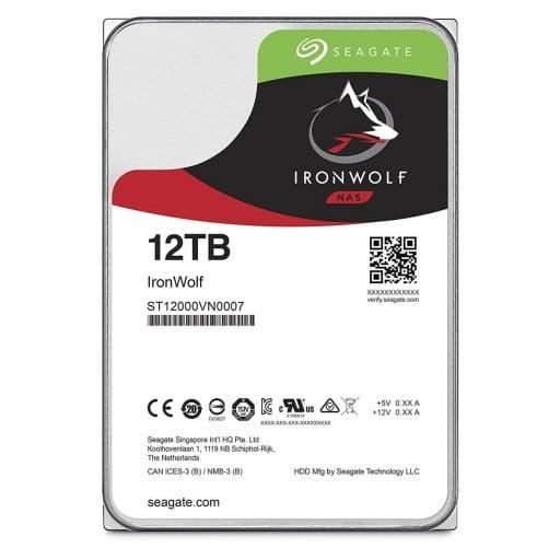 "Seagate ST12000VN0007 IronWolf NAS 12TB 7200RPM SATA 6Gb/s 256MB Cache 3.5"" Internal Hard Drive"