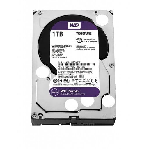"""Western Digital WD10PURZ Purple Surveillance 1TB 5400RPM SATA 6Gb/s 64MB Cache 3.5"""" Internal Hard Drive"""