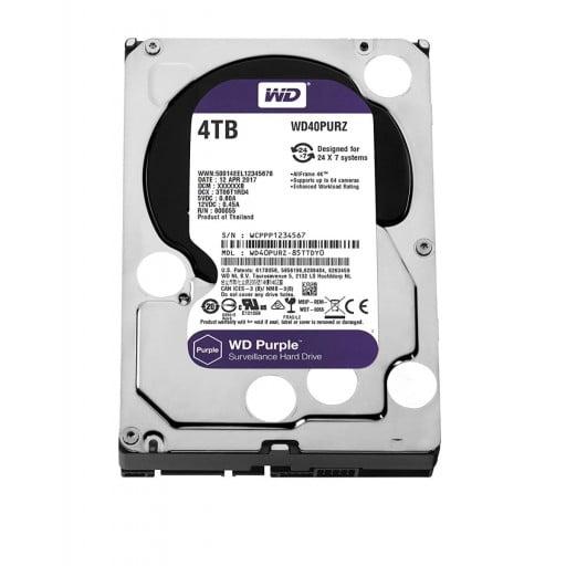 """Western Digital WD40PURZ Purple Surveillance 4TB 5400RPM SATA 6Gb/s 64MB Cache 3.5"""" Internal Hard Drive"""