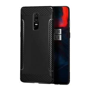 Carbon Fiber Anti-slip TPU Protective Case for OnePlus 6 (Black)