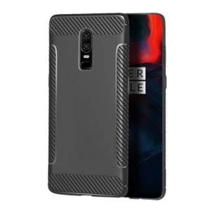 Carbon Fiber Anti-slip TPU Protective Case for OnePlus 6 (Grey)