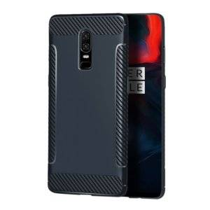 Carbon Fiber Anti-slip TPU Protective Case for OnePlus 6 (Navy Blue)
