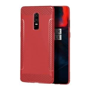Carbon Fiber Anti-slip TPU Protective Case for OnePlus 6 (Red)