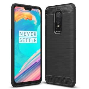 For OnePlus 6 Brushed Texture Carbon Fiber Shockproof TPU Protective Back Case(Black)