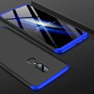 GKK PC 360 Degrees Full Coverage Protective Case Back Cover for OnePlus 6 (Black+Blue)