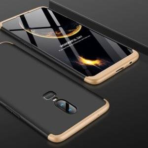 GKK PC 360 Degrees Full Coverage Protective Case Back Cover for OnePlus 6 (Black+Gold)