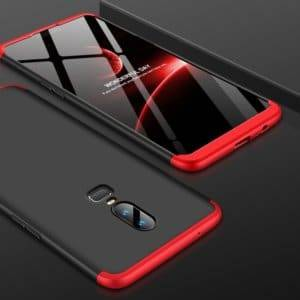 GKK PC 360 Degrees Full Coverage Protective Case Back Cover for OnePlus 6 (Black+Red)