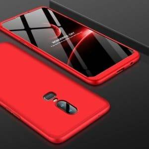 GKK PC 360 Degrees Full Coverage Protective Case Back Cover for OnePlus 6 (Red)