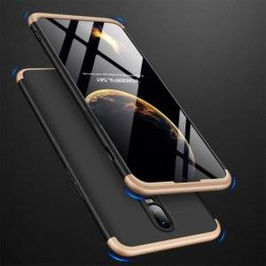 GKK Three Stage Splicing Full Coverage PC Case for OnePlus 6T (Black Gold)