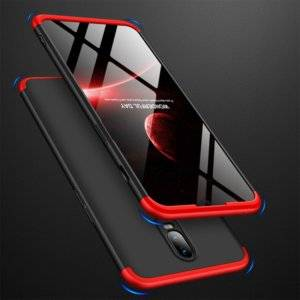 GKK Three Stage Splicing Full Coverage PC Case for OnePlus 6T (Black Red)