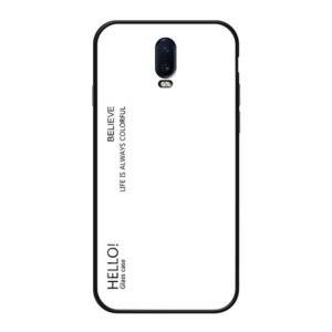 Gradient Color Glass Case for OnePlus 6T (White)