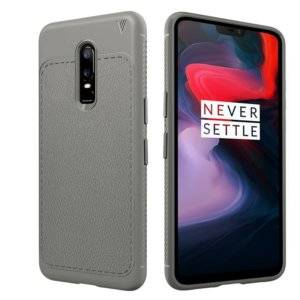 Lenuo Leshen Series Litchi Texture TPU Case for OnePlus 6(Grey)