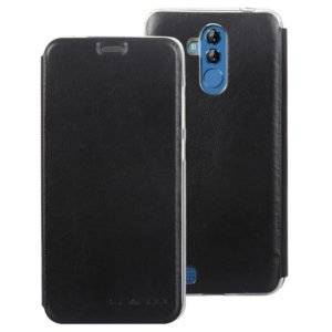 Litchi Texture Horizontal FlipTransparent TPU + Leather Case for LEAGOO M9 Pro(Black)