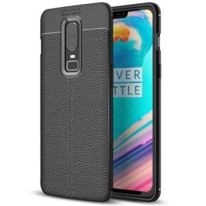 Litchi Texture TPU Case for OnePlus 6(Black)